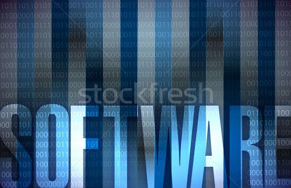Software Technology background blue binary Stock photo © alexmillos