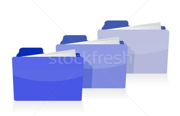 Foto stock: Establecer · azul · carpetas · oficina · trabajo · fondo