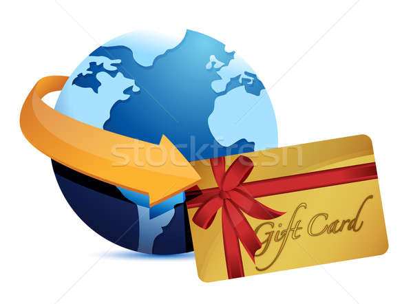 globe arrow and giftcard illustration design over a white backgr Stock photo © alexmillos