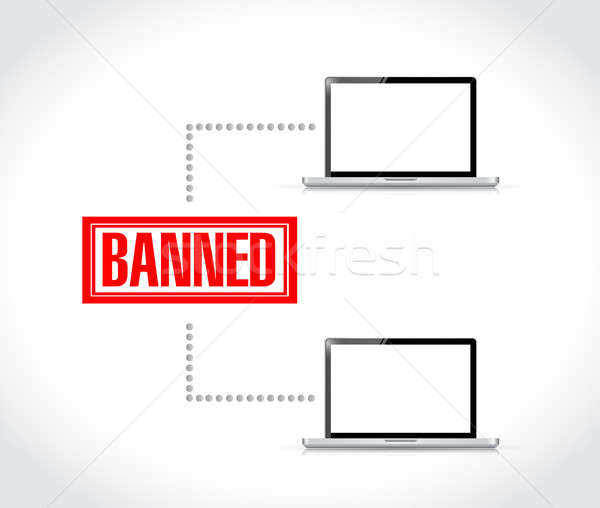 banned stamp over computer network. illustration Stock photo © alexmillos