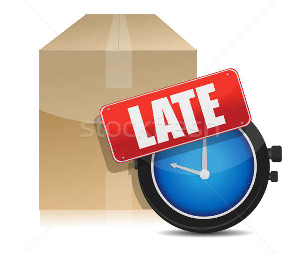 late delivery box and watch illustration design on white Stock photo © alexmillos