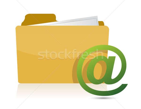 folder and at sign illustration design Stock photo © alexmillos