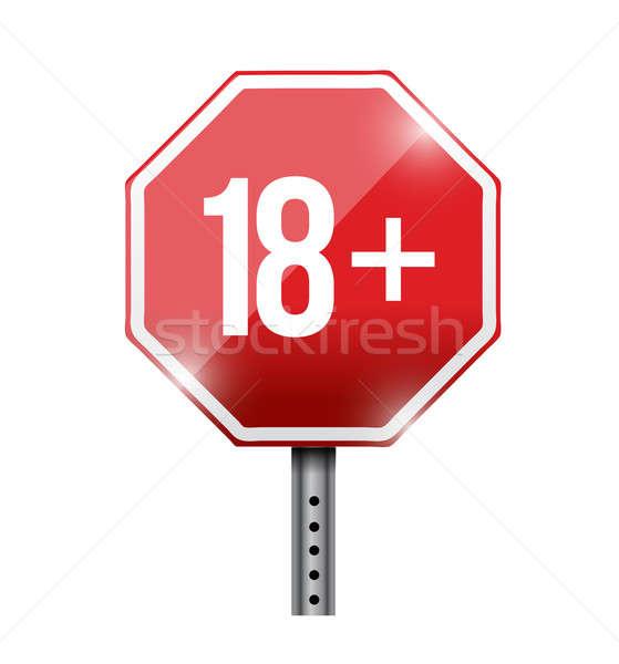 18 yol işareti örnek dizayn beyaz durdurmak Stok fotoğraf © alexmillos