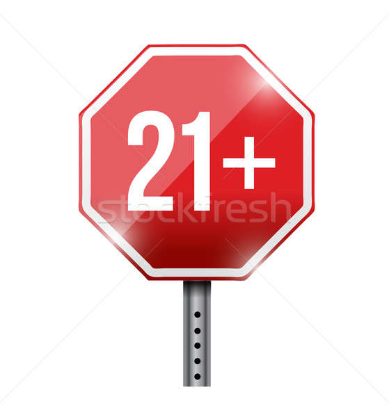 over 21 road sign illustration design over a white background Stock photo © alexmillos