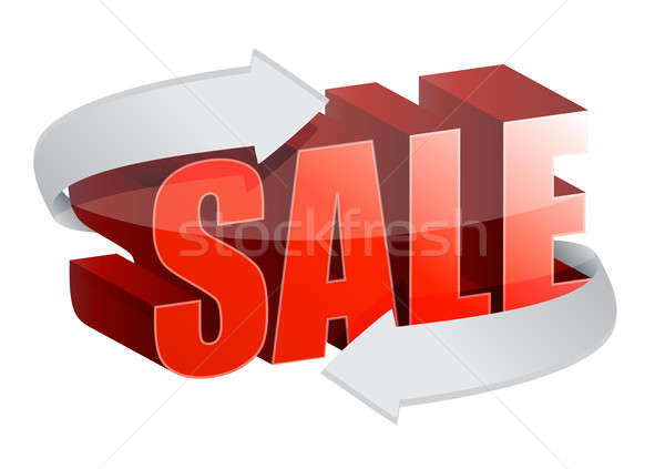 3d text Sale and changing arrows illustration design over white Stock photo © alexmillos