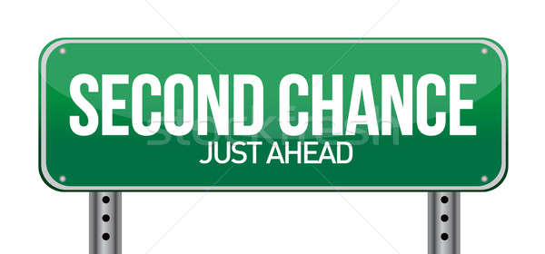 road sign with a second chance concept illustration design over  Stock photo © alexmillos