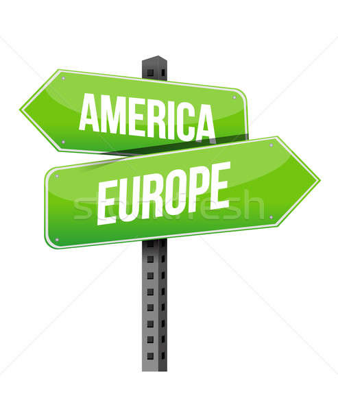 Photo stock: Amérique · Europe · signe · illustration · design · blanche