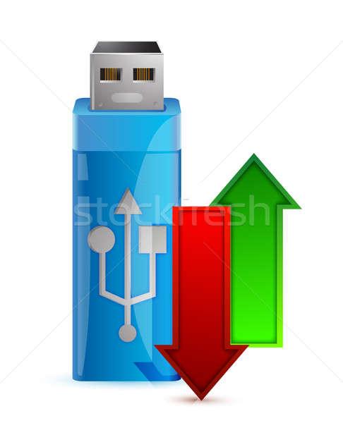 Usb flash drive pijl illustratie ontwerp witte Stockfoto © alexmillos