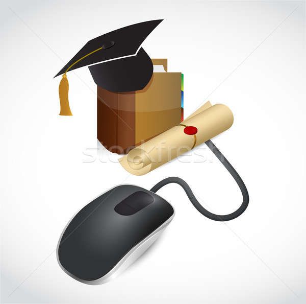 online education concept. mouse and book. illustration design Stock photo © alexmillos
