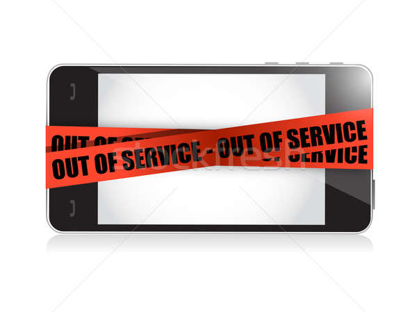 phone out of service. illustration concept design over white Stock photo © alexmillos