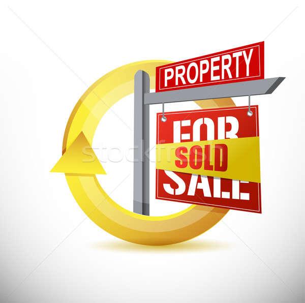 Vendido propiedad diseno ilustración blanco casa Foto stock © alexmillos