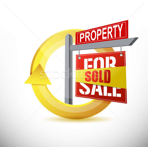 Vendido propriedade projeto ilustração branco casa Foto stock © alexmillos
