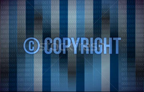 Szó szerzői jog kék bináris képernyő technológia Stock fotó © alexmillos