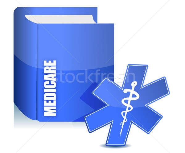Medicate könyv illusztráció háttér felirat gyógyszer Stock fotó © alexmillos