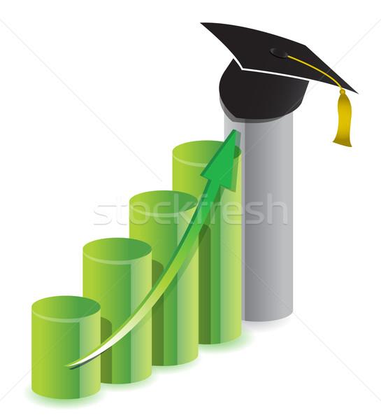 business graduation graph concept illustration design over white Stock photo © alexmillos