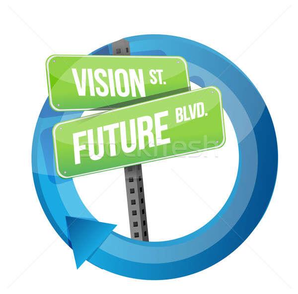 Visão futuro placa sinalizadora ciclo ilustração projeto Foto stock © alexmillos