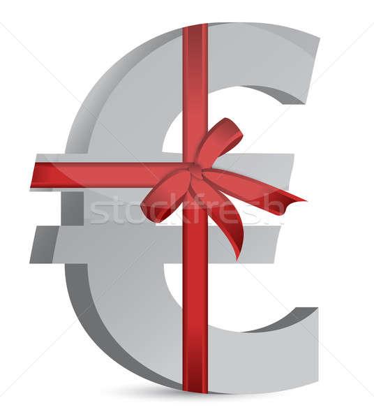 Euro currency symbol and ribbon  Stock photo © alexmillos