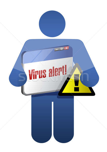 icon holding a browser with a virus alert. illustration design o Stock photo © alexmillos