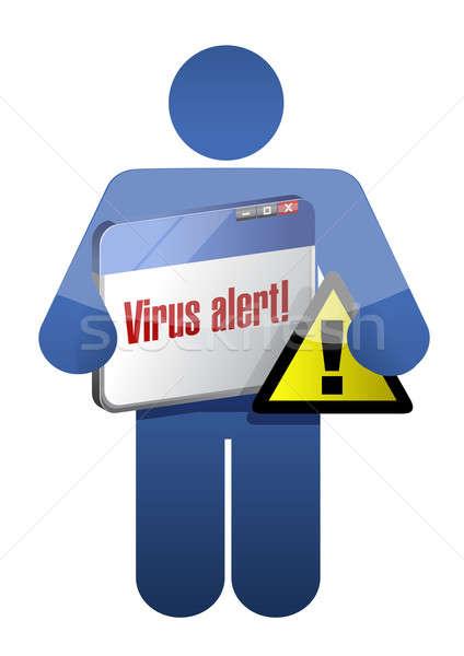Symbol halten Browser Virus Benachrichtigung Illustration Stock foto © alexmillos
