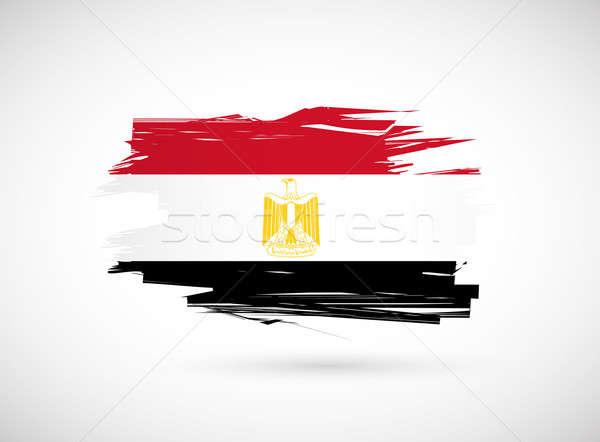 Mısır mısır bayrak boyalı suluboya sanat Stok fotoğraf © alexmillos