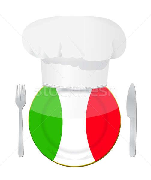 итальянская кухня иллюстрация дизайна белый ресторан знак Сток-фото © alexmillos