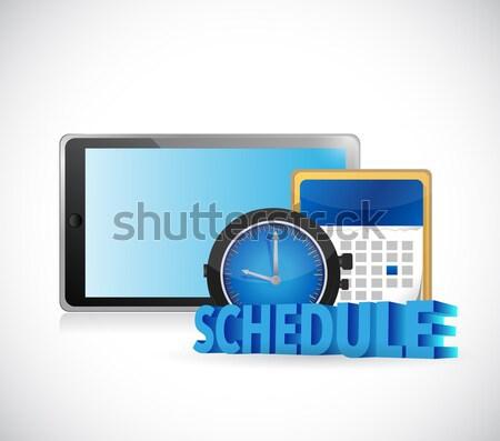 Nemzetközi menetrend naptár illusztráció terv fehér Stock fotó © alexmillos