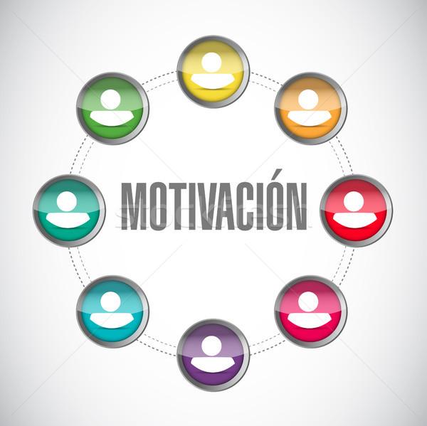 Motivazione rete avatar ciclo segno spagnolo Foto d'archivio © alexmillos
