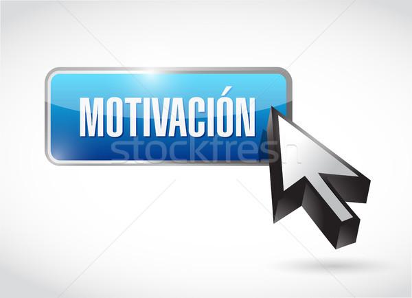 Motivación botón signo espanol ilustración diseno Foto stock © alexmillos