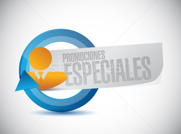 special promotions in Spanish business sign Stock photo © alexmillos