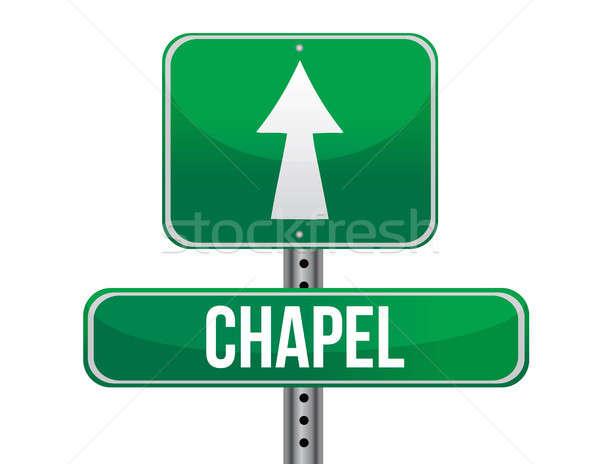 chapel road sign Stock photo © alexmillos