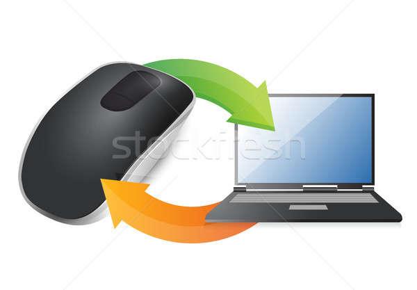 цикл ноутбука беспроводных Компьютерная мышь изолированный белый Сток-фото © alexmillos