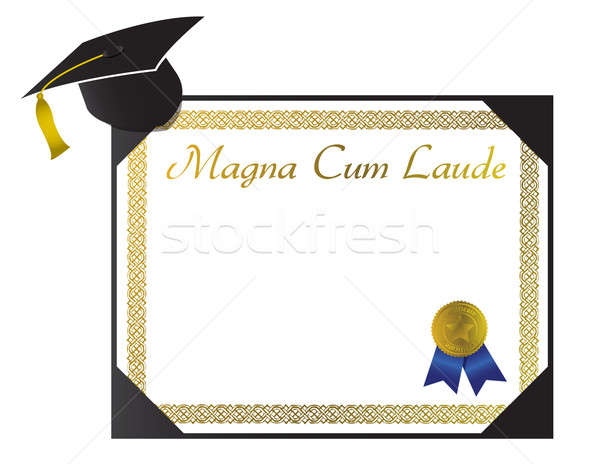 Magna Cum Laude College Diploma with cap and tassel Stock photo © alexmillos