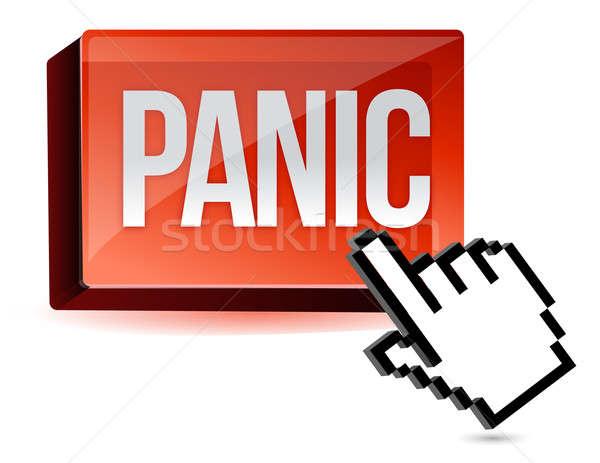 Stockfoto: Cursor · paniek · knop · illustratie · ontwerp · geïsoleerd