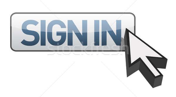 Signe bouton illustration design ordinateur sécurité Photo stock © alexmillos