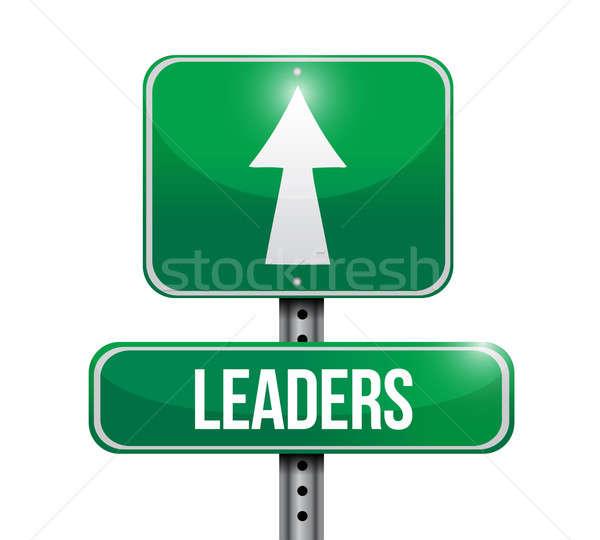 Liderler yol işareti örnek beyaz imzalamak karayolu Stok fotoğraf © alexmillos