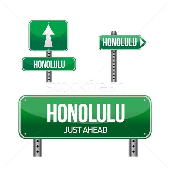 Honolulu város jelzőtábla illusztráció terv fehér Stock fotó © alexmillos