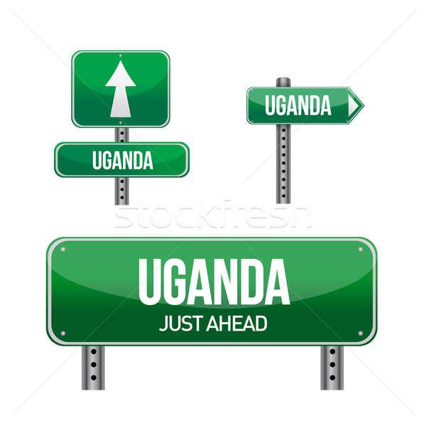 uganda Country road sign illustration design over white Stock photo © alexmillos