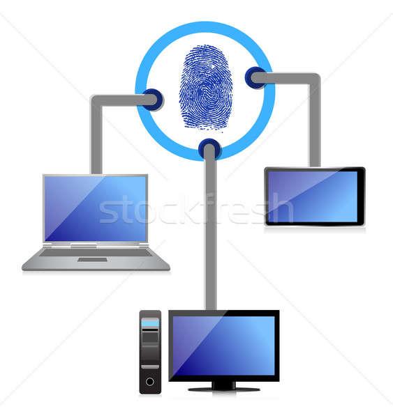 electronic connection security fingerprint diagram illustration  Stock photo © alexmillos