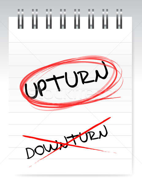 Upturn, crossed out the word downturn illustration design Stock photo © alexmillos