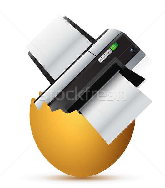 printer inside a broken egg illustration design over white Stock photo © alexmillos