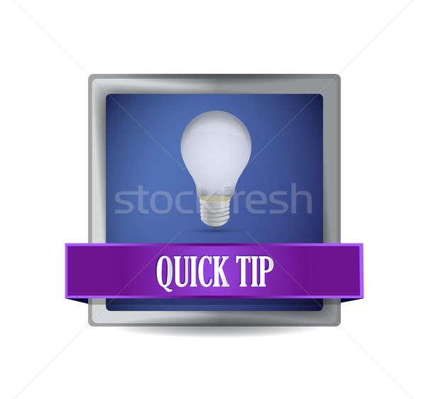 quick tip idea button illustration design over white Stock photo © alexmillos