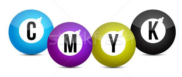 cmyk color balls over white background illustration design Stock photo © alexmillos