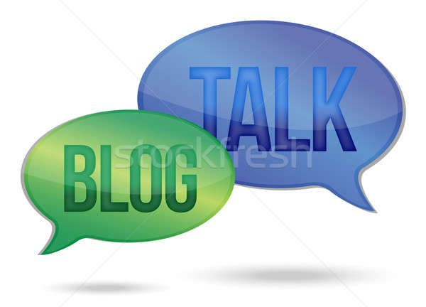 Parler blogging messages illustration design blanche Photo stock © alexmillos