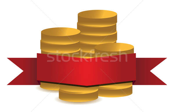 Coins and red banner  Stock photo © alexmillos