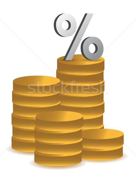 Pièces pourcentage symbole illustration bar marché Photo stock © alexmillos