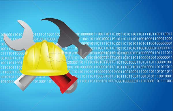 construction tools and blue binary background illustration desig Stock photo © alexmillos