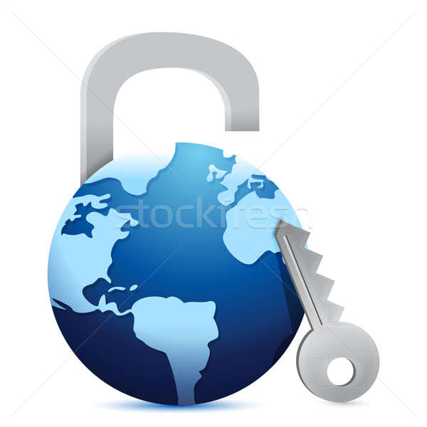 Close globe 'lock' illustration design over a white background Stock photo © alexmillos