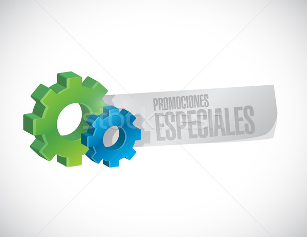 special promotions in Spanish gear sign concept Stock photo © alexmillos