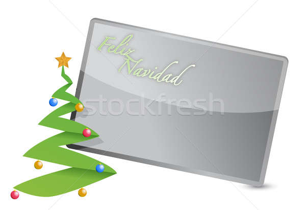 spanish - merry christmas tree card illustration design on white Stock photo © alexmillos