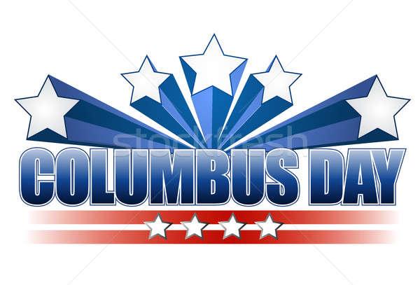 columbus day illustration design on white Stock photo © alexmillos